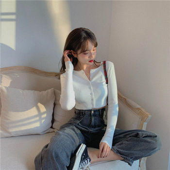 Retro solid color buttoned knit small cardigan women's sweet base high-waist round neck sweater long-sleeved French cardigan buttoned v neck cardigan