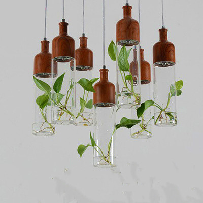 Nordic Plant Glass Chandelier Three Creative Personality Simple Modern Restaurant Bar Light Postage Free