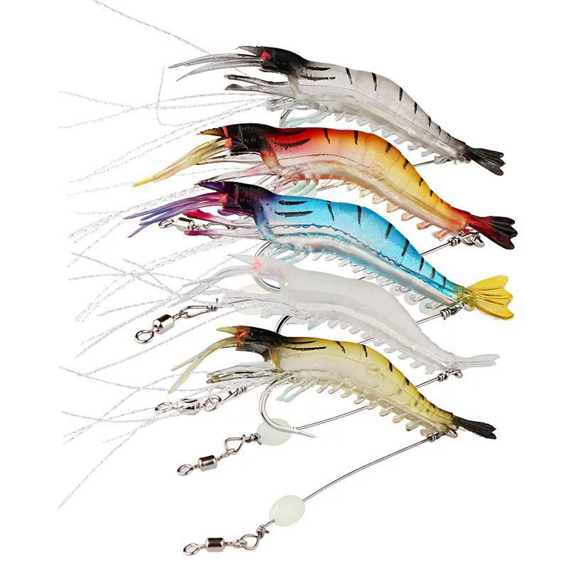 Shrimp Fishing-Bait Soft Silicon Luminous Hooks Random-Color with Fake Sea  title=