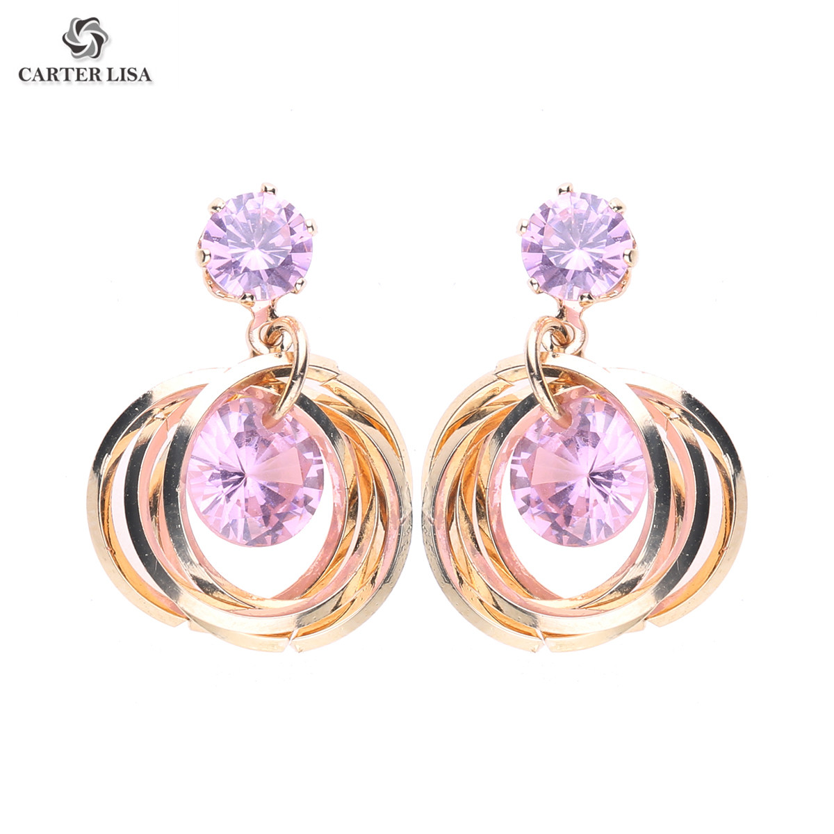 CARTER LISA New Arrival Multilayer Crystal Earrings For Women Girl Drop Crystal Fashion Earring Party Jewelry