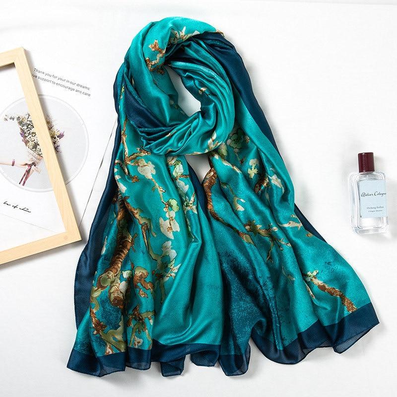 2019 new style spring and summer china good silk scarves women foulard Office large shawls lady fashion print beach hijab