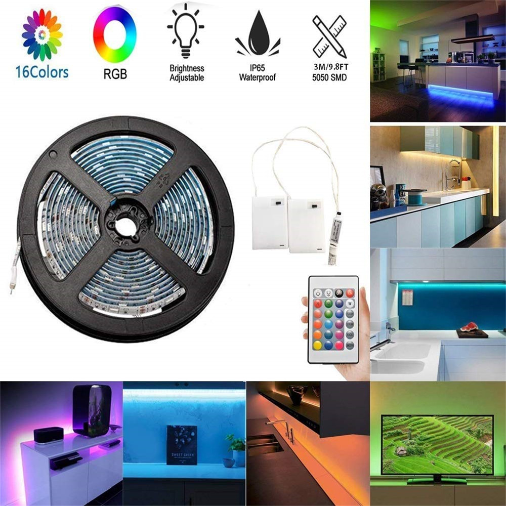 Battery Powered 1M 2M 3M 4M LED Strip Light Dimmable Touch RGB SMD 5050 IP65 Waterproof Remote LED Ribbon Tape Stripe Light