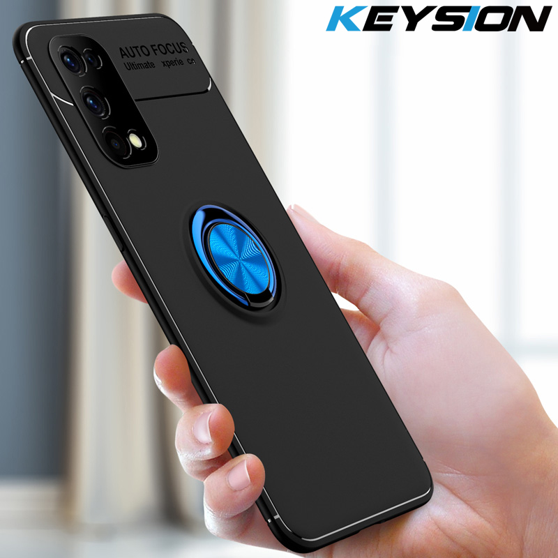 KEYSION için darbeye dayanıklı durumda Realme 7 7 Pro X7 Pro yumuşak silikon manyetik Metal halka halkalı telefon kılıfı kapak Realme için C15 C12 c11 V5