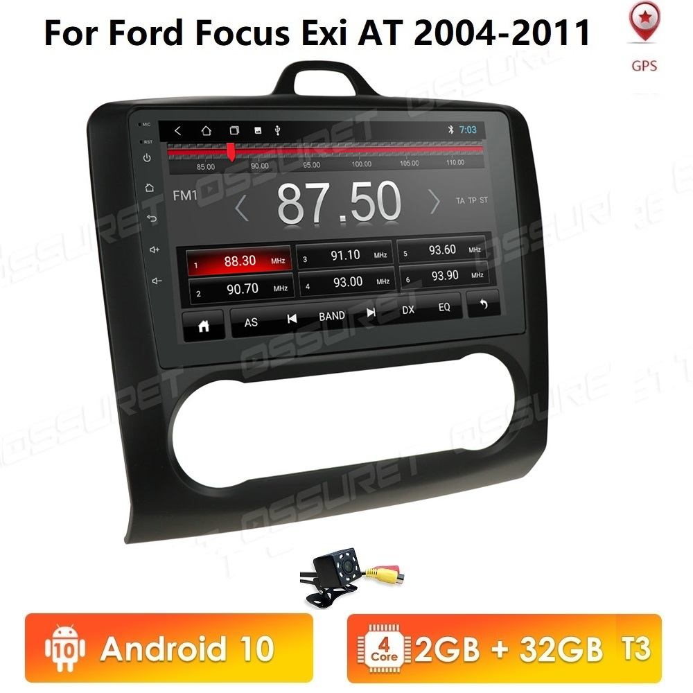 2+32 4G 2 DIN 9 Inch Android 10 Car multimedia player Touchscreen Quad-core Car Radio For 2004 2005 2006-2011 Ford Focus Exi AT image