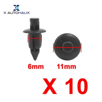 X Autohaux 10PCS Fit Hole 6Mm | 9Mm|10Mm Universal Auto Car Bumper Fender 6Mm Hole Plastic Rivets Push Pin Clips Head |11mm | image