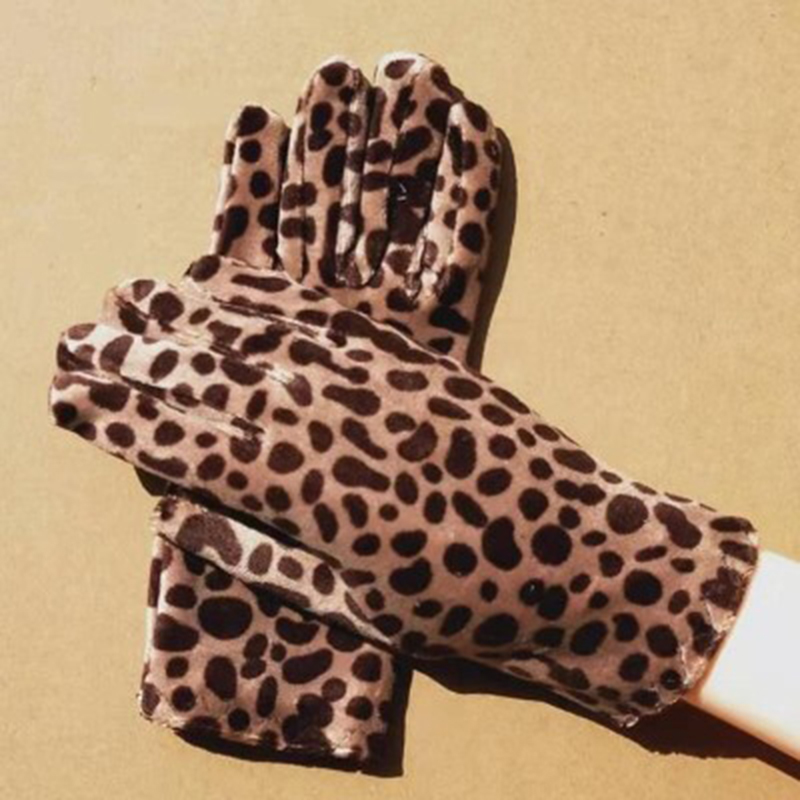 Women Driving Gloves Gold Velvet Leopard Gloves Women Sexy Etiquette Mittens Autumn Winter Warm Elastic Cycling Mittens H61