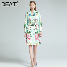 DEAT Woman Trench Coat Green Print Lapel Long Sleeve With Belt Slim Elegant High Waist Casual Style 2021 New Autumn 15XM065