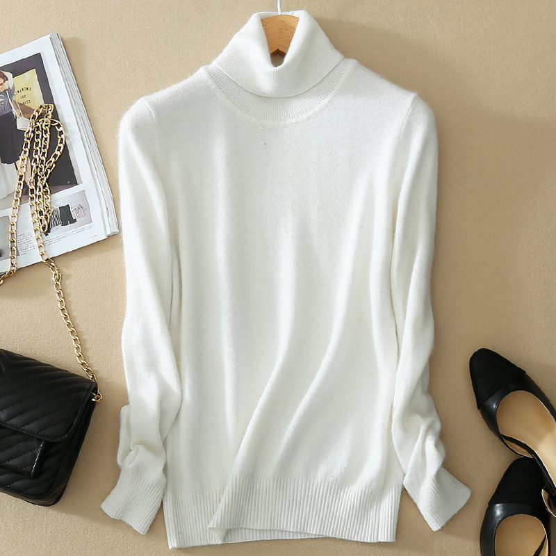 Knit Top 2020 Winter Women's Turtleneck Sweater white Pullover Solid Color Casual wear Slim Jumper Long Sleeve Soft Warm Plus
