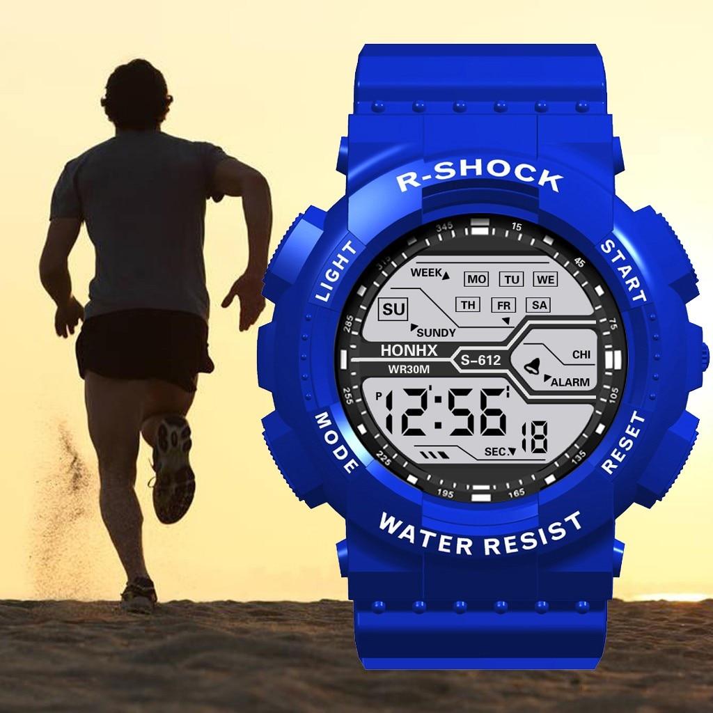 New Sport Watch Fashion Waterproof Men's Boy LCD Digital Stopwatch Date Rubber Sport Wrist Watch спортивные часы Relogio Digital