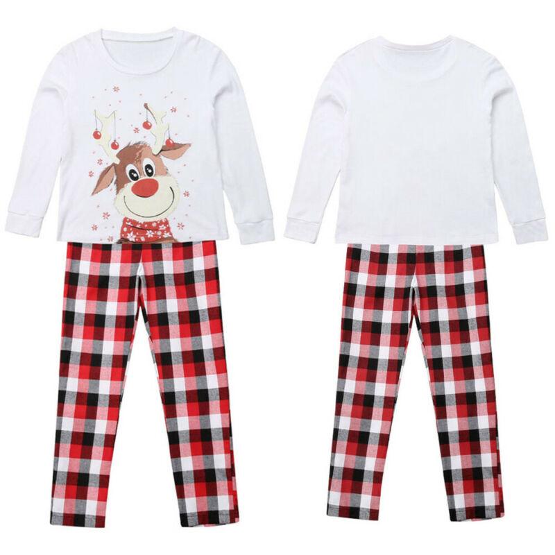 M-3XL 6M-9Y 2018 Family Christmas Pajamas XMAS Deer Print Adult Women Kids Family Matching Clothes Christmas Pajamas Family Set