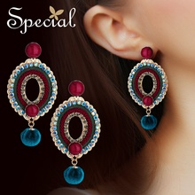 Special exotic S925 silver needle earring ear nail clip retro decoration Susanshan color plate