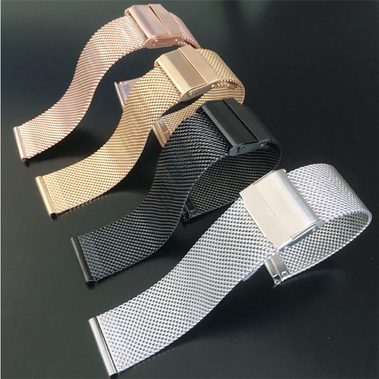16/18/20/22mm Stainless Steel Watch Band Straight End Bracelet Mesh Buckle Watch Strap 4 Colors Shellhard Drop Shiping