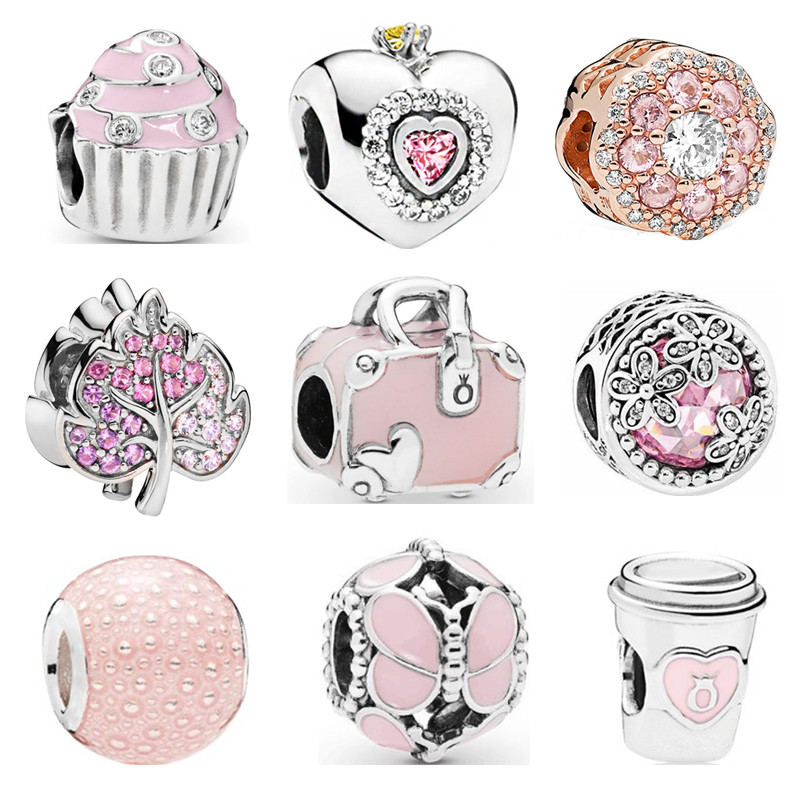 Couqcy Big Hole Lovely Pink Beads Fit Pandora Bracelet Necklace DIY Charms For Women Enamel Heart Shape Pendant For Girl Gif(China)