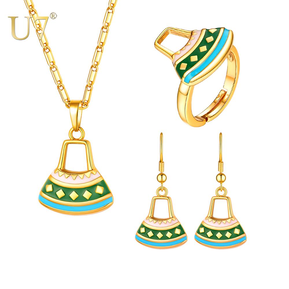 U7 New Wholesale Papua Guinea PNG Jewelry Sets Bag Pendant Necklace Drop Earrings Rings for Women Wedding  Jewellery S1025