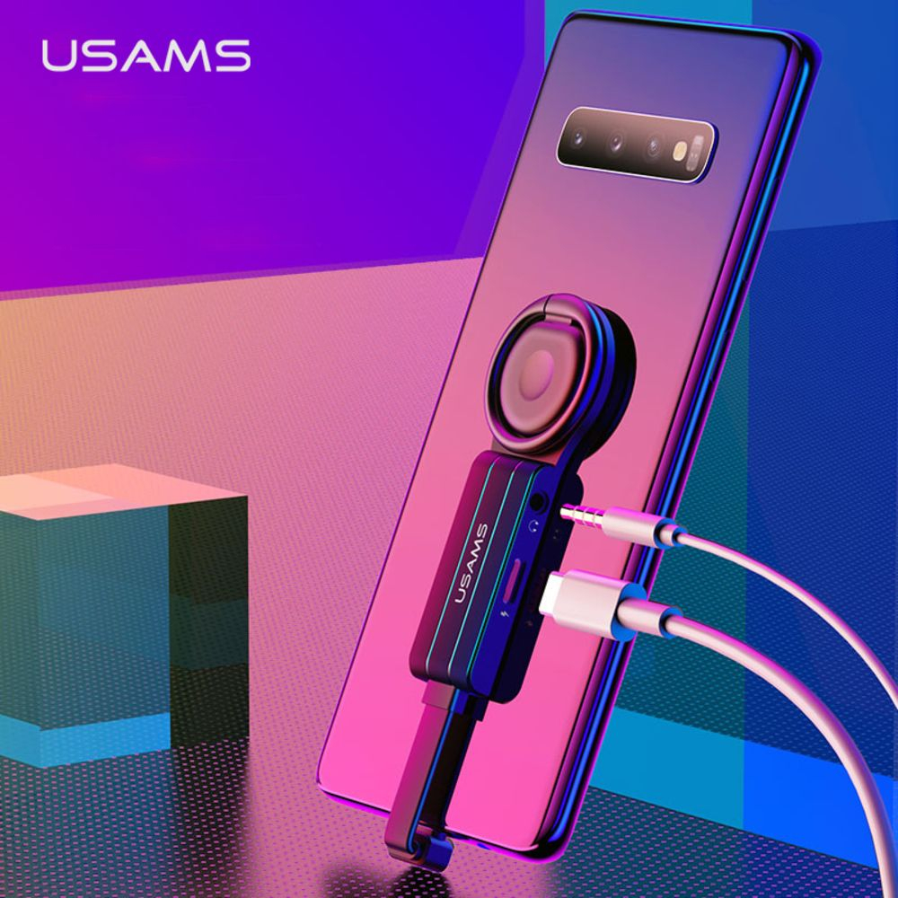Gaming Charger With Ring Holder 2 In 1 IPhone Type-C To 3.5mm Dual Adapter QC3.0 360 Degree Adjustable Audio Splitter