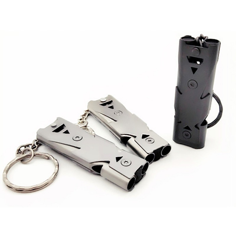 150 DB Stainless Steel High-frequency Emergency Survival Whistle Keychain SOS Double Tube EDC Whistle Outdoor Accessories