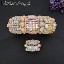 ModemAngel Luxury Big Delicate Bangle Ring Set For Women Full Micro Cubic Zircon Pave Party Wedding Saudi Arabic Dubai Jewelry(China)