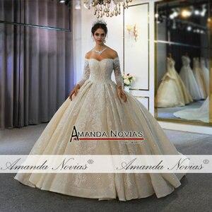 Image 3 - Trouwjurk mariage brautkleid 2020 weg von der schulter ärmel hochzeit kleid echt fotos gleiche 100%