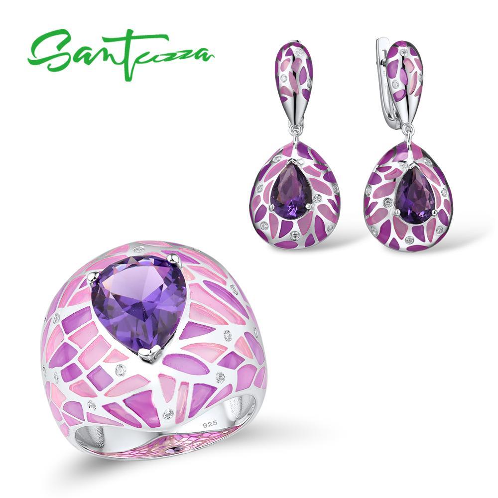 SANTUZZA 925 Silver Jewelry Set For Women Purple Stone Dazzling CZ Earrings Ring Set Elegant Fine Jewelry Handmade Enamel