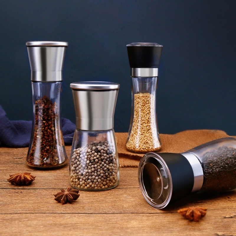 Pepper Mill Stainless Steel Bottles Manual Food Flask Herb Grinders Spice Jar Containers Kitchen Gadgets Spice Delicate Glass