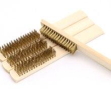 1 pièces manche en bois brosse métallique en acier pour appareils industriels Surface/polissage intérieur meulage nettoyage 6x16 rangée outil à main