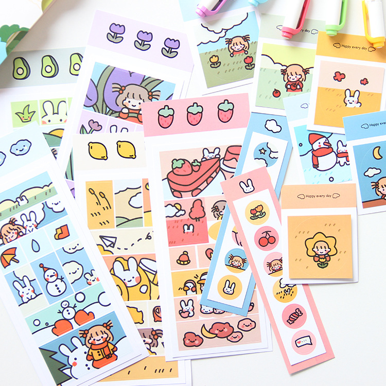 Ins Cartoon Bunny Girl Cute Stickers Fruit Post It DIY Notebook Mobile Phone Shell Sealing Decorative Sticker Korean Stationery