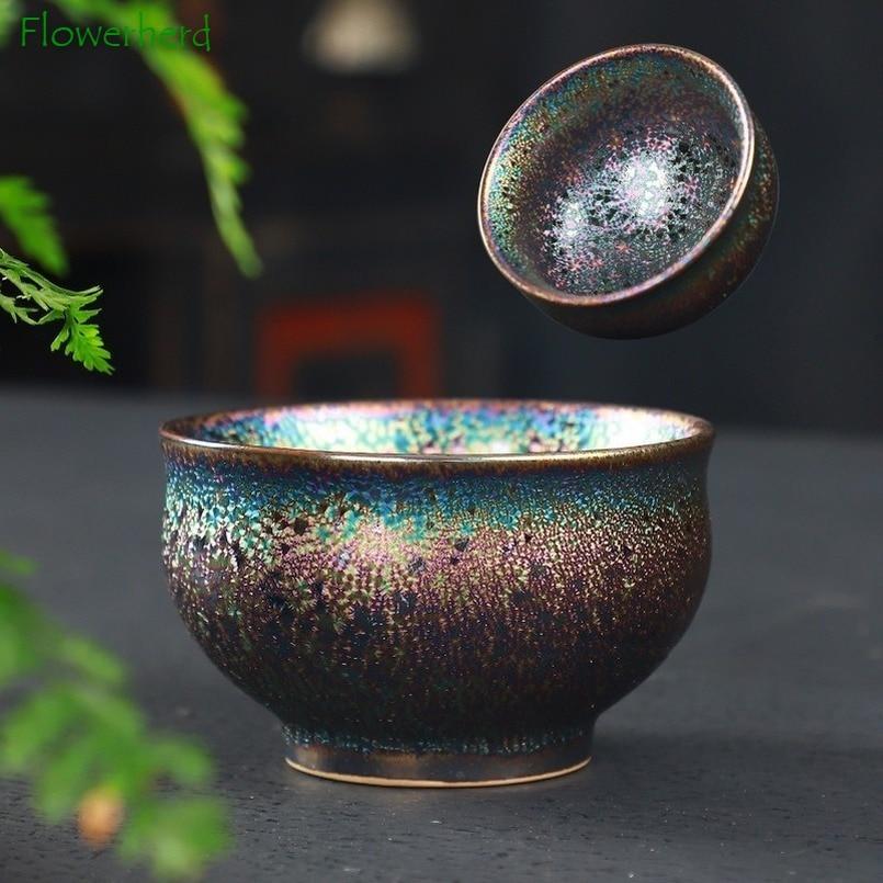 Ceramic Porcelain Tea Cup Teaware Colorful Single-cup Ceramic Kiln Becomes Master Cup Tea Bowl Master Cup Kung Fu Tea Cup