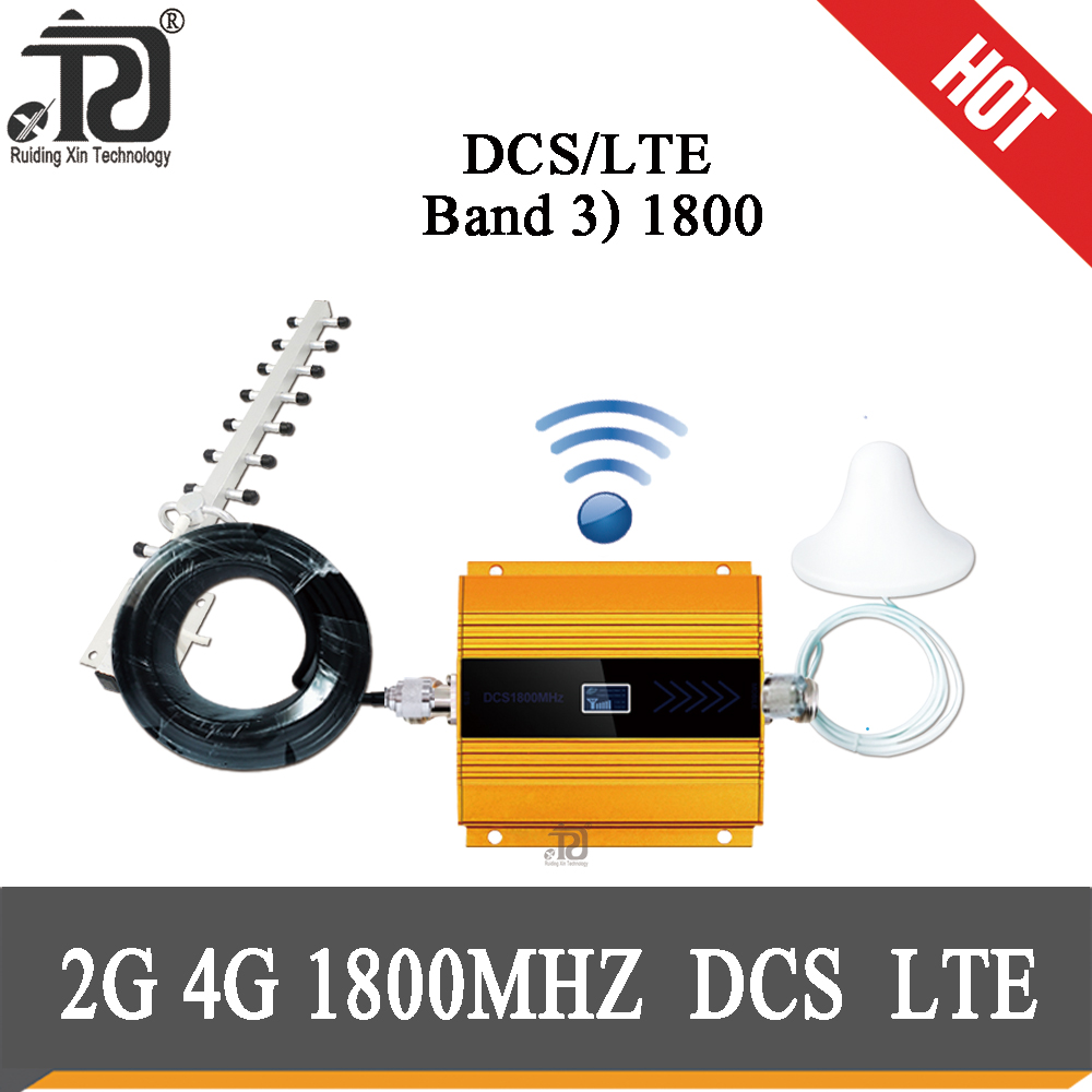 4G Repeater (LTE Band 3) 1800mhz Mobile Signal Booster DCS Cellular Repeater+Ceiling Antenna + Yagi Antenna + 10m Cable Suit