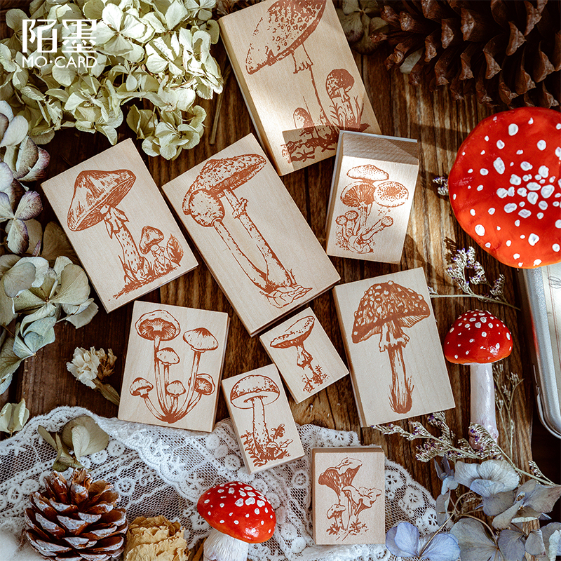 JIANWU 1PC Vintage Forest Mushroom Series Decoration Seal Wooden Rubber Stamps For Scrapbooking Stationery DIY Bullet Journal