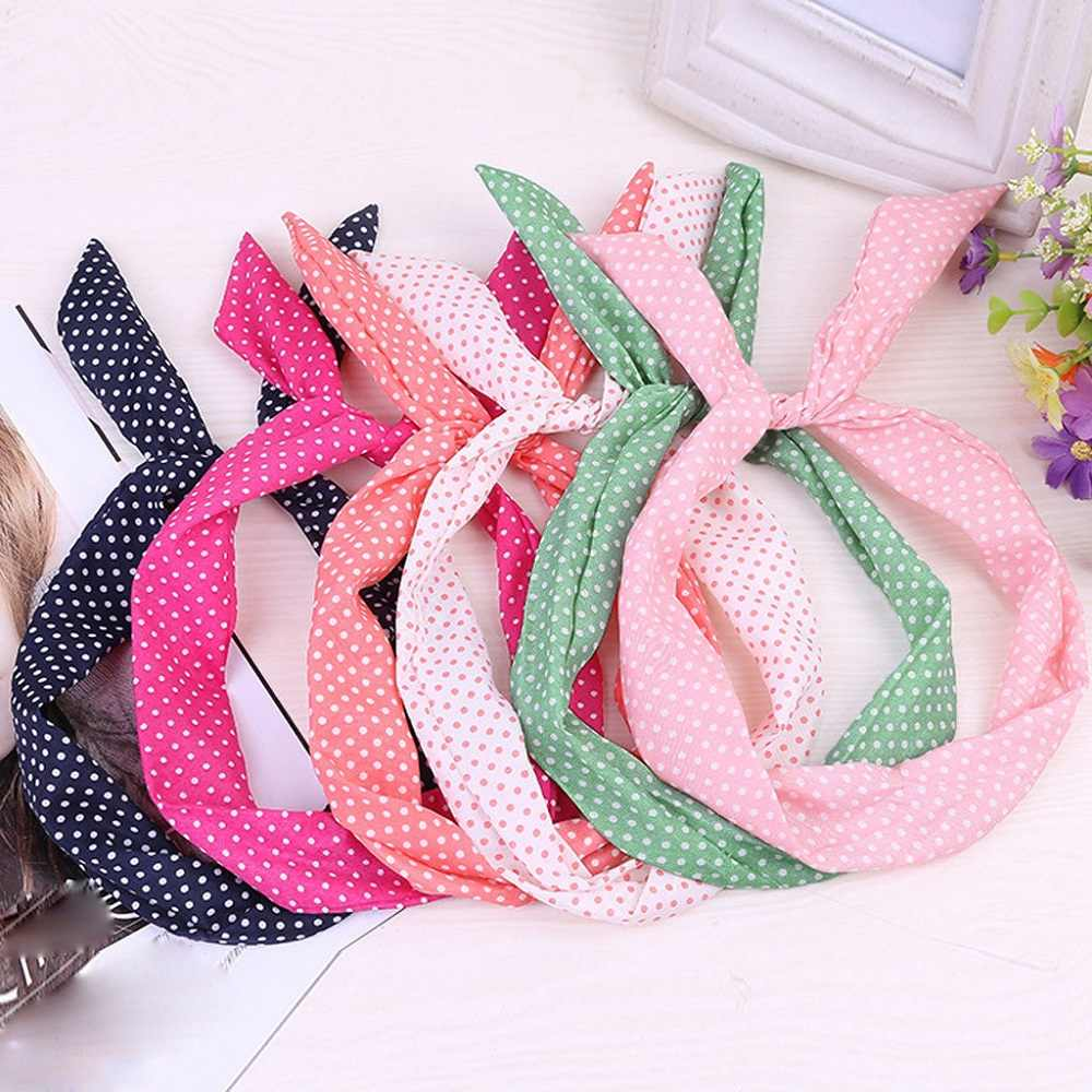 New Hair accessories Wired Headband Polka Dot Tartan Retro Scarf Wire Hair Band Women girls Simple Headwear Cute Headband