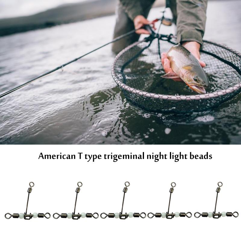 Night Alloy Copper Luminous Beads Rolling Swivel Silver Sporting T-Shape Practical Glowing Fishing Accessory Lure