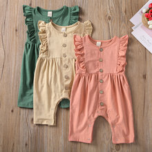 Newborn Infant Baby Girl Solid Clothes Ruffle Romper Jumpsuit Cotton sleeveless
