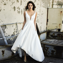 Verngo High/Low Wedding Dress Soft Satin Aline Gowns Elegant Backless Bride Vestidos De Novia 2019