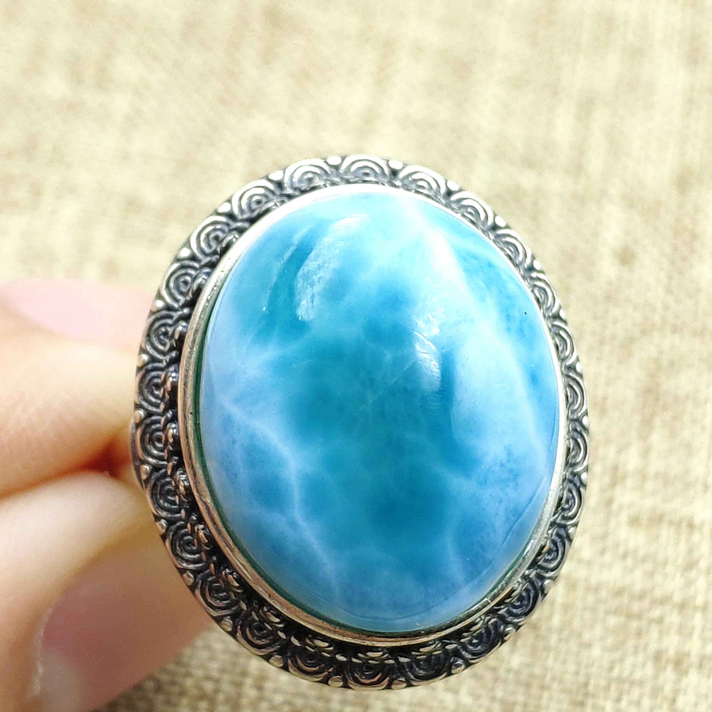 Naturel bleu Larimar pierre réglable anneau 925 en argent Sterling pour les femmes hommes fête amour cadeau 20x17mm luxe cristal anneau AAAAA