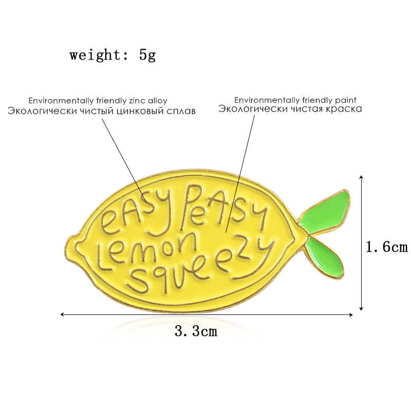 """""""Mudah Sekali Lemon Diremas"""" Buah Bros Cantik Kuning Lemon Segar Lucu Enamel Pin Bros Hadiah Kreatif untuk Anak-anak anak Perempuan"""