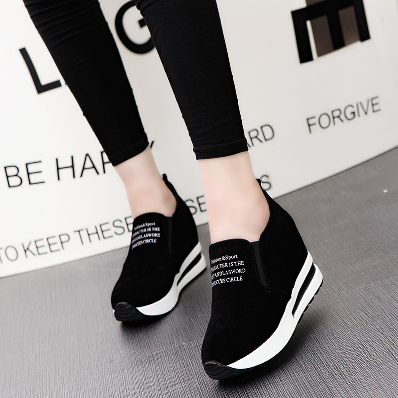 New Flock Increasing Shoes High Heels Lady Casual Black Women Sneakers Leisure Platform Shoes Slip-On Breathable Height Sneakers