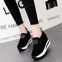 New Flock Increasing Shoes High Heels Lady Casual black Women Sneakers Leisure Platform Shoes Slip-On Breathable Height Sneakers