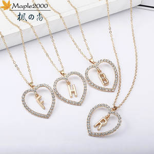 Crystal Necklace Fashion Jewelry Love-Pendant Stainless-Steel Heart-26-Letters Women