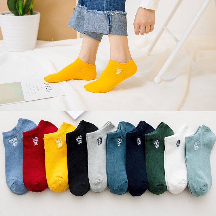 7 Pair/lot Rainbow Colors One Week Mens Socks Ankle Socks Funny Cute Solid Color Plush Boat Unisex Art Sock Short Sox Size35-43