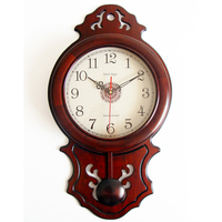 Chinese Wall Clock Simple Retro Solid Wood Living Room Silent Swing Quartz Clock Creative Clock Wall Clock Pendulum Clocks 5wc55