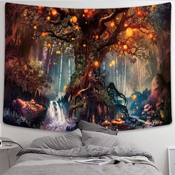 Simsant Mushroom Forest Castle Tapestry Fairytale Trippy Colorful Butterfly Wall Hanging Tapestry for Home Dorm Fantasy Decor 1