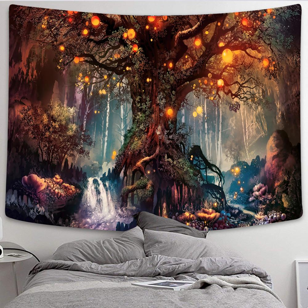 Simsant Mushroom Forest Castle Tapestry Fairytale Trippy Colorful Butterfly Wall Hanging Tapestry for Home Decor GT2TDBZY0425