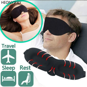 Image 2 - 3D uyku göz maskesi seyahat istirahat yardım göz maskesi kapak yama yastıklı yumuşak uyku maskesi körü körüne göz dinlenmek masaj güzellik araçları