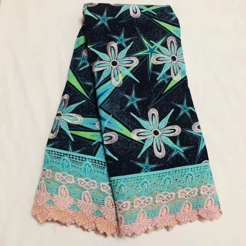 High Quality Ankara Lace Wax Fabric New Arrival 100% Cotton African Embroidery Netherlands Wax With Lace Fabrics Materials