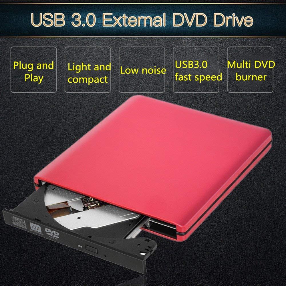 KuWFi External DVD Drive Optical Drive USB 3.0 CD DVD Burner CD-RW Writer Reader Recorder for Laptop Windows PC