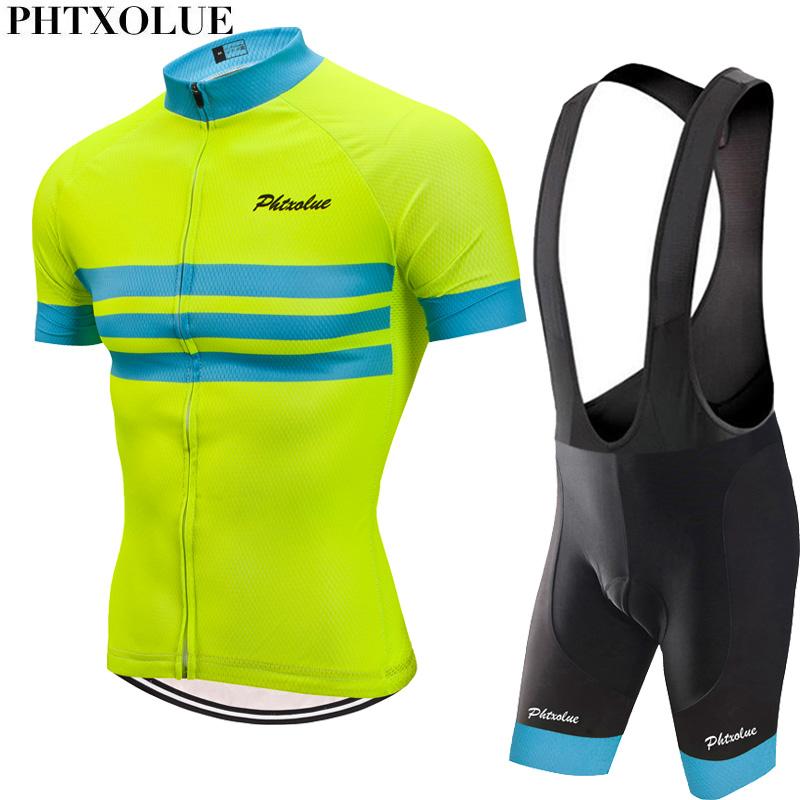 Phtxolue 2020 Cycling Set Men Cycling Clothing MTB Bike Clothes Breathable Anti-UV Road Bicycle Wear Cycling Jersey Set