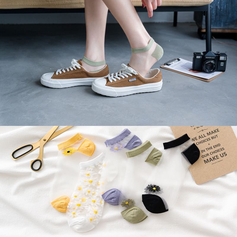 SP&CITY Summer Cute Daisy Short Socks Sexy Trasparente Invisible Glass Silk Women Socks Fashion Thin Breathable Flower Sokken