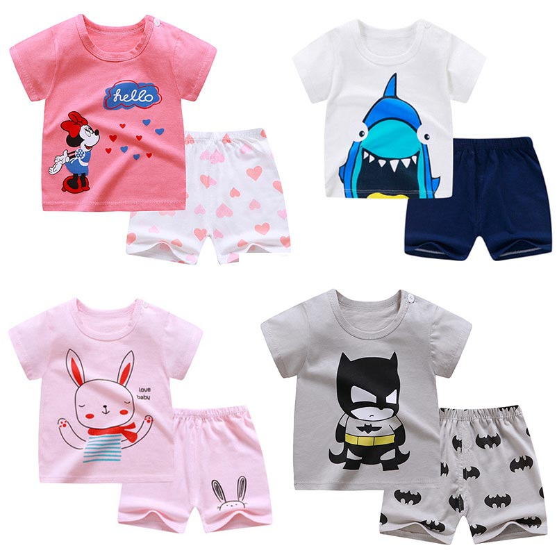 Cute Kids Clothes Cotton Summer Boys Girls Clothes Sets Soft T Shirt Shorts Suits Cartoon Children Clothing Baby Outfits 0-6Y