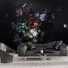 Milofi – papier peint 3D personnalisé, simple, peint à la main, fleur de lys, fond de chambre noir, décoration murale