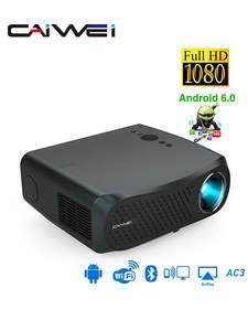 CAIWEI Full HD проектор A12 1920x1080P Android 6,0 (2G + 16G) WIFI светодиодный проектор домашний кинотеатр HDMI 3D видео проектор для 4K